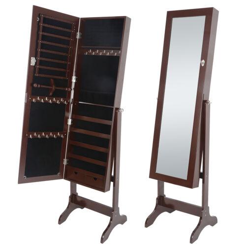 Lockable Mirrored Jewelry Cabinet Armoire Mirror Organizer Storage Box W// Stand