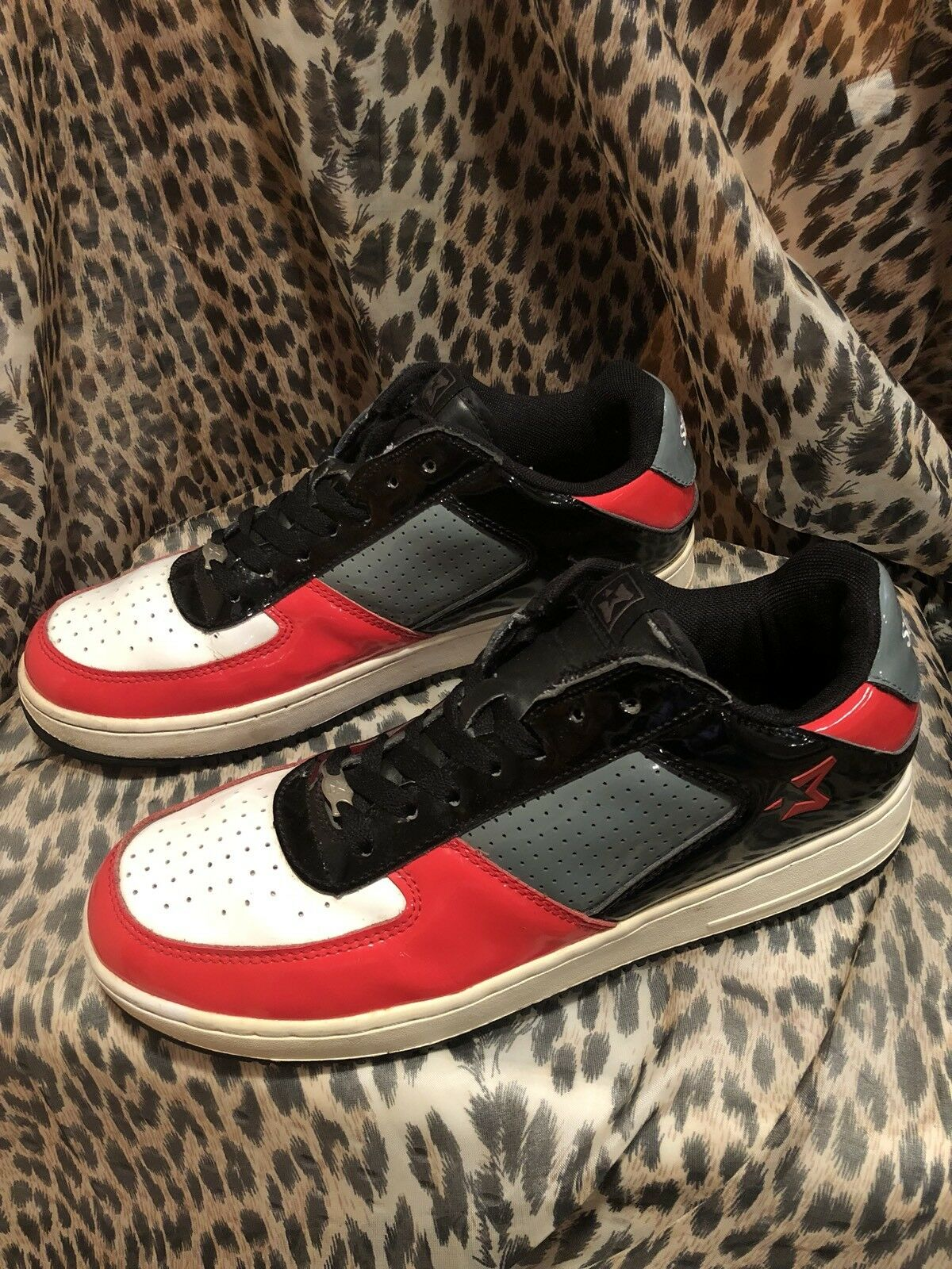 Vintage Starbury Sneakers Mens Patent Leather Red Gray White Sneakers Starbury 21763 Size 10.5 b6d459