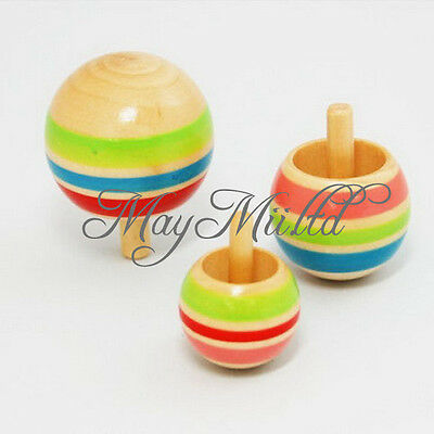 Funny 3pcs Wooden Colorful Spinning Top Kids Wood Children's Party Toy S