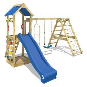 WICKEY Spielturm Klettergerüst StarFlyer Schaukelgestell mit blauer Rutsche
