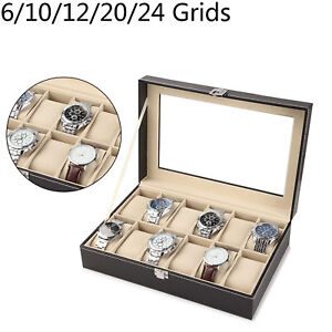 6-24-Grid-Slots-Watch-Box-Leather-Display-Glass-Top-Jewelry-Storage-Case
