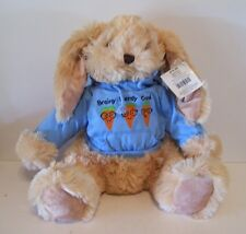 TAN PLUSH EASTER BUNNY RABBIT BLUE HOODIE BASKET BABY GIFT DECORATION SPRING