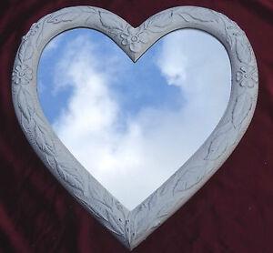 Espejo-de-pared-Corazon-Forma-barroca-blanco-Plata-Regalo-Amor-26