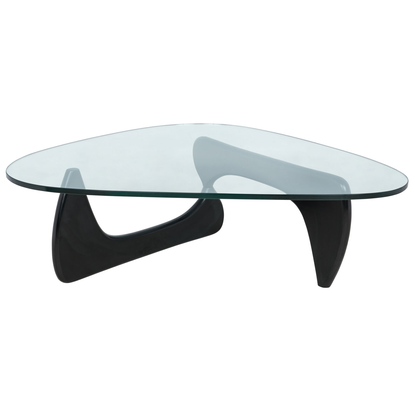 Isamu Noguchi Style Triangle Coffee Table With Black Wood