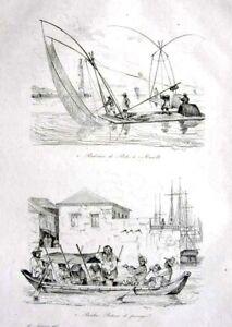 PHILIPPINES-MANILA-BOATS-FERRY-COSTUMES-Original-1835-Antique-Print