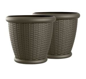 Details About 2 Large Plastic Planters Flower Pots Outdoor Patio Resin Wicker 22 Brown Garden