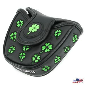 Lucky-Clover-Black-MALLET-PutterCover-Headcover-For-Scotty-Cameron-Odyssey-2ball
