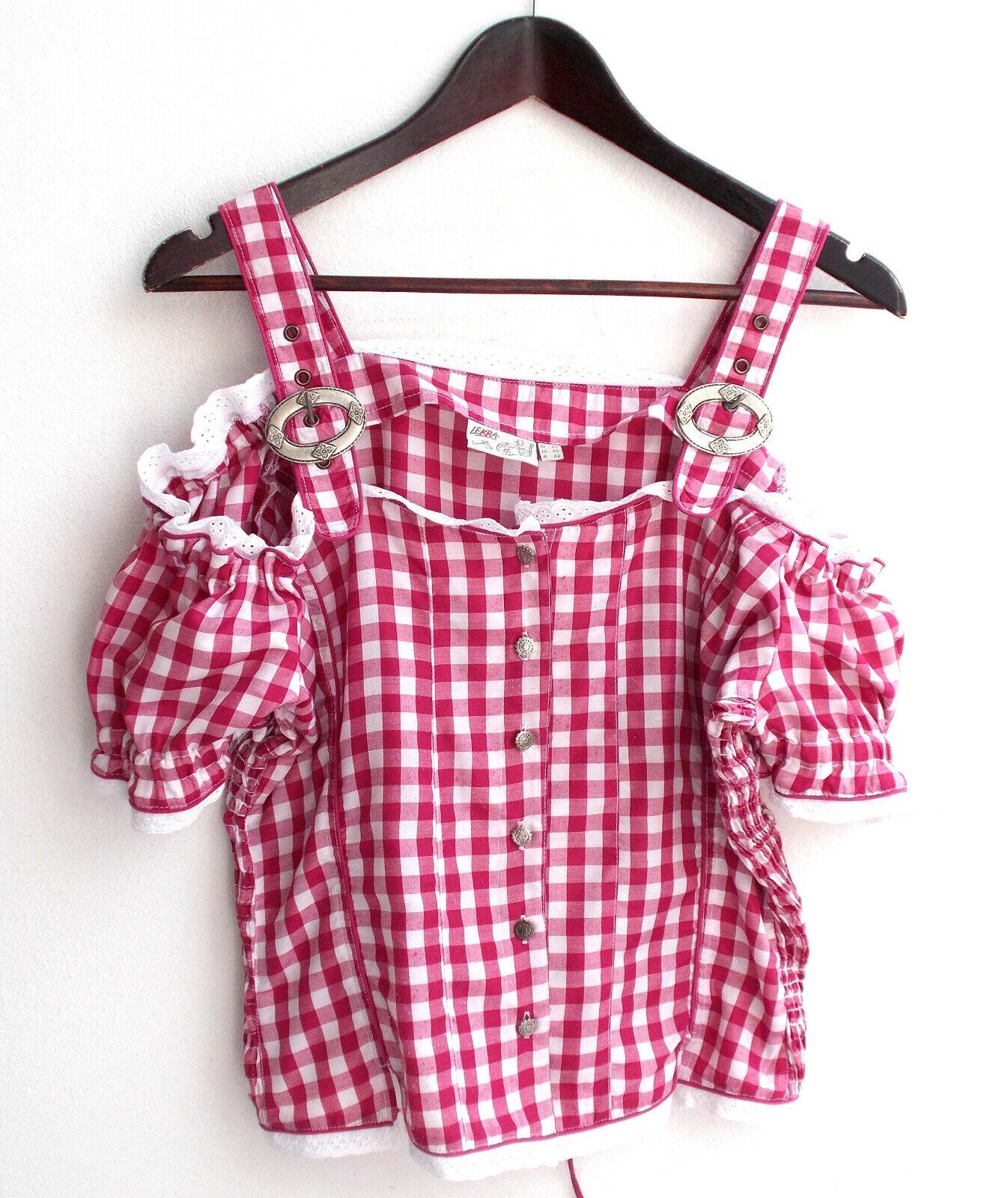 Damen Trachten Bluse pink weiß kariert Gr. 42 v. Country Life