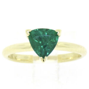 FINE-18K-Yellow-Gold-GIA-1-35ct-Trillion-Cut-Emerald-Solitaire-Engagement-Ring