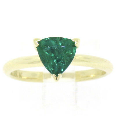 FINE 18K Yellow Gold GIA 1.35ct Trillion Cut Emerald Solitaire Engagement Ring