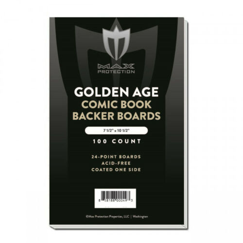300 Max Pro Golden Comic NON-RESEALABLE Acid Free 2 mil Poly Bags Backer Boards