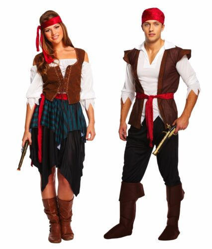 ADULT PIRATE CARIBBEAN Fancy Dress Costume Ladies Mens Couples Halloween NEW UK
