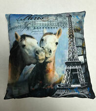 BLUE GREY PARIS & HORSES LOVE CUSHION COVER / PILLOWCASE 45X45CM | FREE POSTAGE
