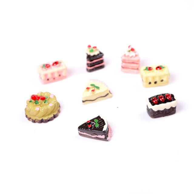 8Pcs Dollhouse Miniature Bakery Shop Kitchen Food Cake Cupcake Low Donuts P L0Z1