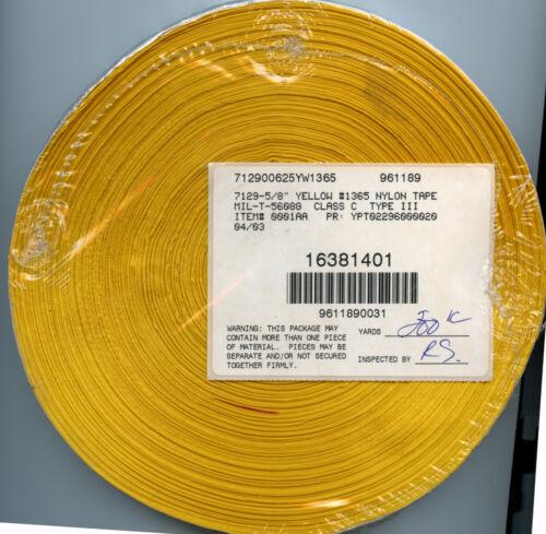 "Yellow Nylon Textile Tape Twill Weave Flat 5//8/"" wide x 200 yards"