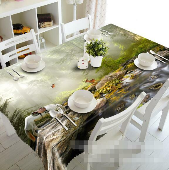 3D Creek Animals Tablecloth Table Cover Cloth Birthday Party Event AJ WALLPAPER