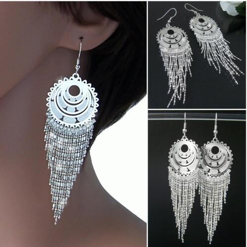 Ohrringe Silber Damen Ohrhänger 10cm Glitzer Strass Bauchtanz Orient Party O980