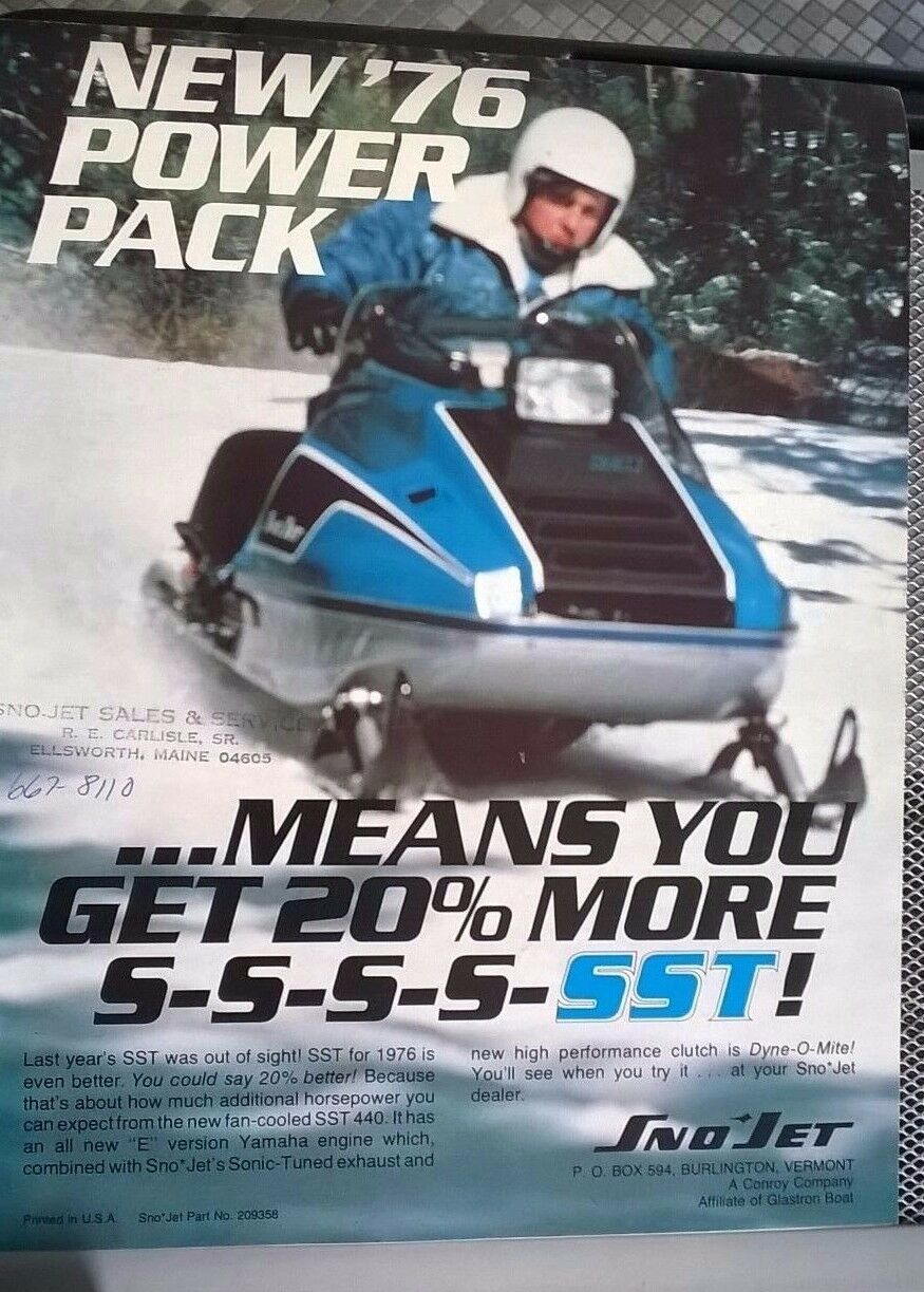76  Snow Jet  sales flyer brochure  the classic style