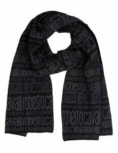 Sciarpa-Scarf-100-Lana-Wool-ROBERTO-CAVALLI-Made-in-Italy-Uomo-Man-Nero-Black-E