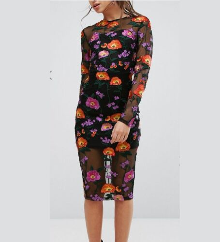 NWT PrettyLittleThing Embroidered Floral Sheer MIDI DRESS UK 6-16 Lined