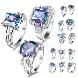 925-Silver-Engagement-Wedding-Rings-Zircon-Colorful-Crystal-Love-Women-Jewelry
