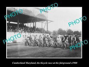 OLD-LARGE-HISTORIC-PHOTO-OF-CUMBERLAND-MARYLAND-BICYCLE-RACE-AT-FAIRGROUND-1900