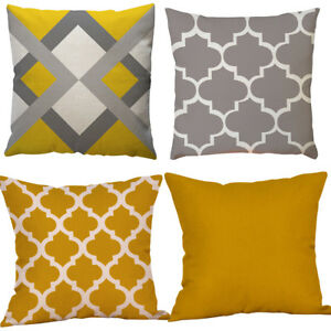 NEW-Modern-Geometric-Cushion-Mustard-Yellow-and-Grey-Scandi-Sofa-Case-Cover-45cm