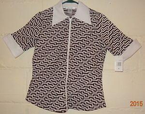 Chest White Chemisier Blanc Géométrique Size Noir Nouveau Chemise Shirt Black M 38 Poitrine Blouse Geometric Taille Print M 38New Imprimé dxBoerC