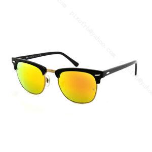 Brand New!! Ray-Ban Clubmaster Sunglasses - RB3016 901/69 - Black / Orange Flash
