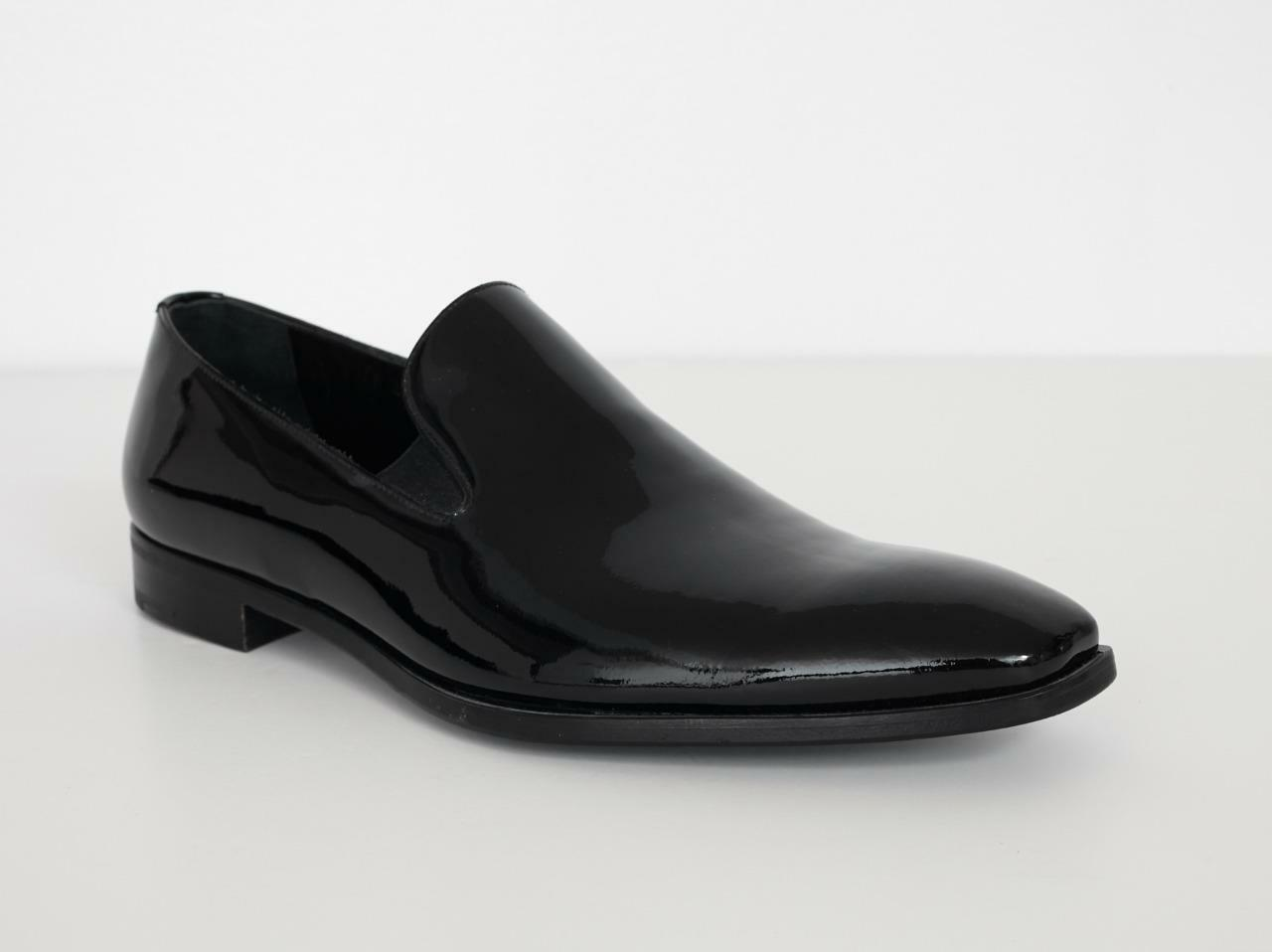PRADA Mens Formal Black Patent HIGH SHINE Slip-On Dress shoes Loafers NEW 8.5