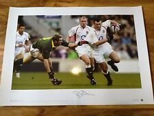 MAGNIFICENT SIGNED STEVE THOMPSON ENGLAND RUGBY PRINT.BRITISH AND IRISH LIONS
