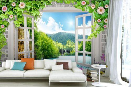 3D Fenster Blaumenrebe 98 Tapete Wandgemälde Tapete Tapeten Bild Familie DE  | Genial Und Praktisch  | Qualität zuerst  | Bekannt für seine gute Qualität
