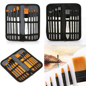 10 Pcs Zipper Case Bag Art Brushes Acrylic Oil Watercolor Artist Paint Brush New