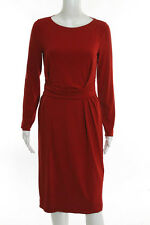 Armani Collezioni Red Stretch Knit Long Sleeve Pleated Front Cut Out Back Dress