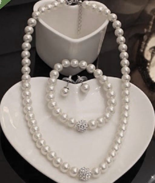 PAVED DIAMANTE CRYSTAL BALL WHITE GLASS PEARL NECKLACE, EARRINGS, BRACELET SET