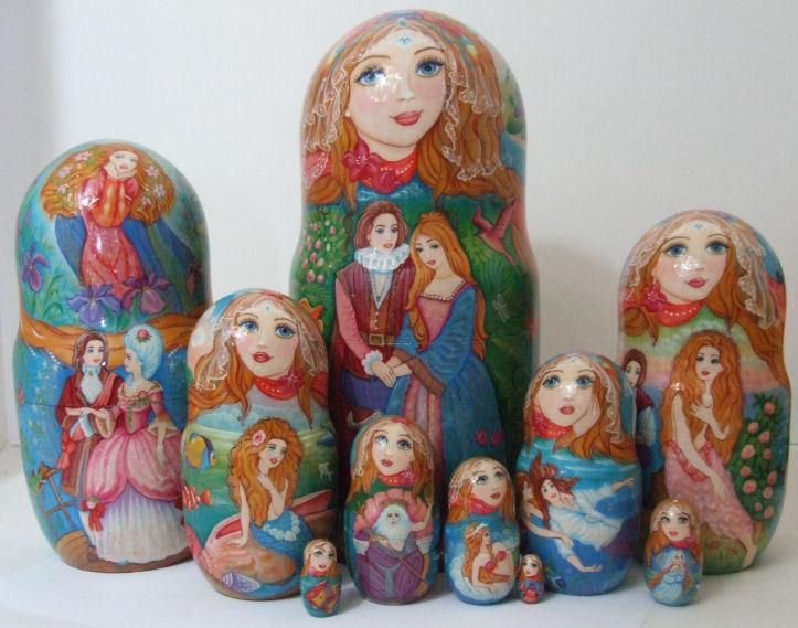 Pintado One Of Kind 10pcs Muñecos-caja Rusos  Sirenas  por Inna