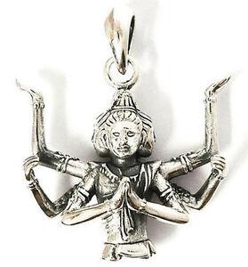 Japanese asura god of war sterling 925 silver pendant ebay image is loading japanese asura god of war sterling 925 silver mozeypictures Images