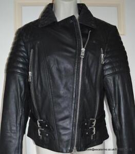 1a5022266f9c5 All Saints Hemming Leather Biker Jacket in Black Size 12 BNWT £378 ...
