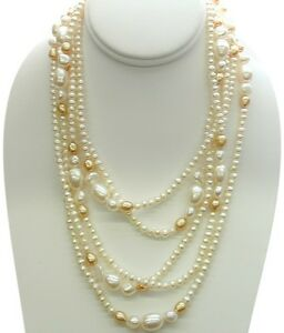 80-Inch-White-amp-Champagne-Freshwater-Pearl-Strand-Necklace