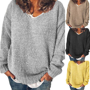 UK-Womens-Long-Sleeve-V-Neck-Knitted-Sweater-Ladies-Warm-Loose-Jumper-Cardigan