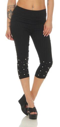 Jeans Slim-fit donna jeans Caprihose perle 11577 Stampe Da Donna Capri Pantaloni 7//8