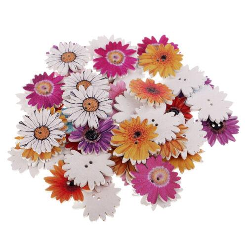 50 Stück Daisy Flower Holz Flatback Buttons für Kinder basteln DIY 25mm