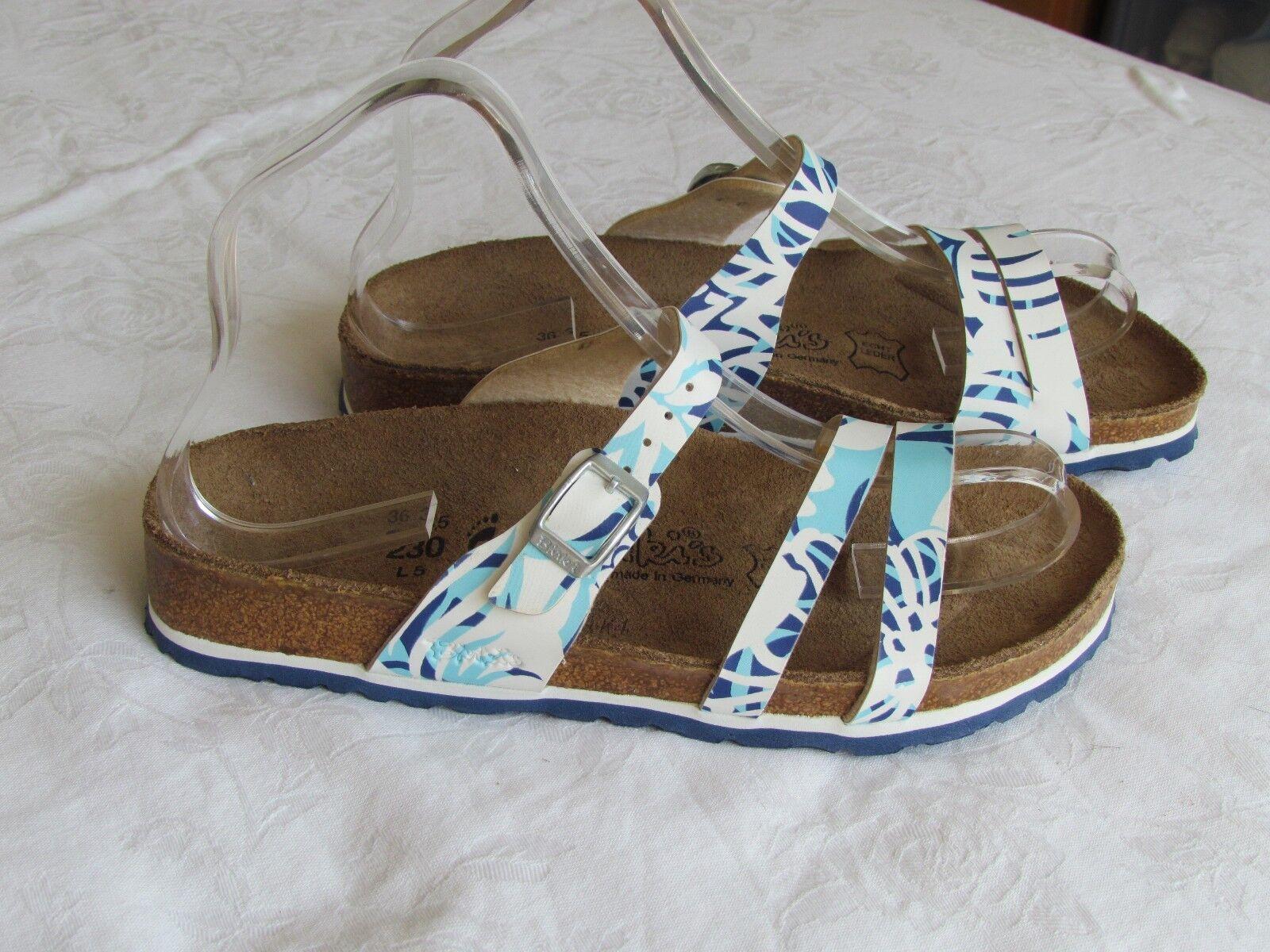 Último gran descuento NEW Birkis By Birkenstock Ladies White & Navy Blue Mules Sandals Size 3.5 EU 36