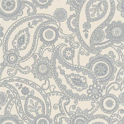 New Rasch Mandalay Paisley Silver/White Glitter Sparkle Feature Wallpaper 281125