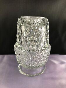 Vintage-Indiana-Clear-Glass-Angel-Light-Diamond-Point-Fairy-Lamp-2-piece