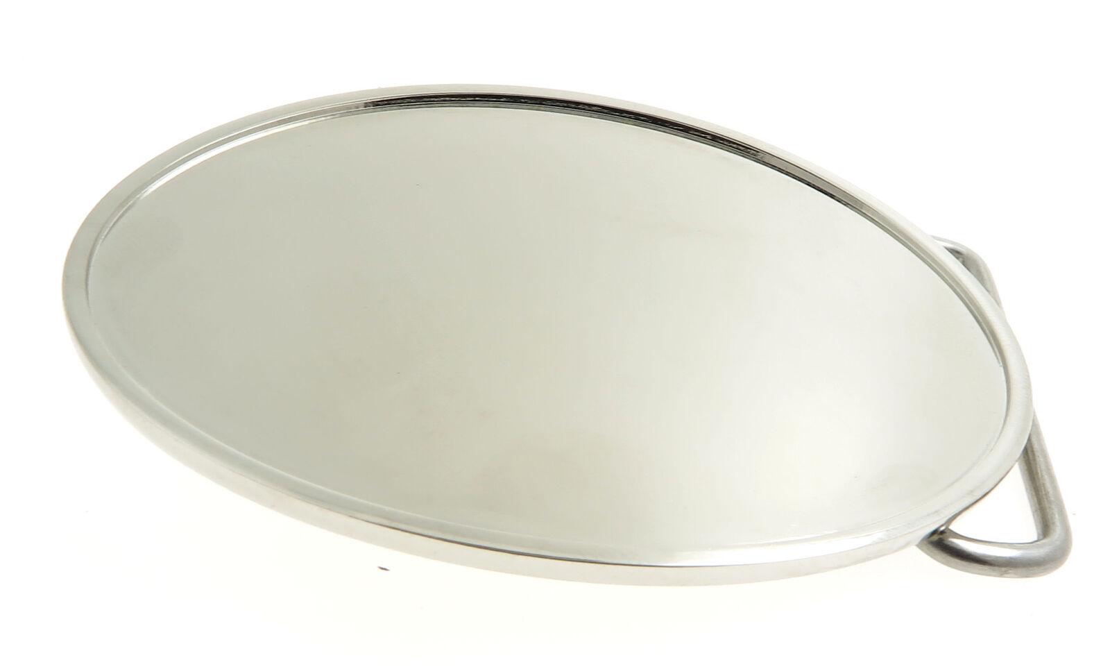 Shiny Chrome Oval Blank Metal Belt Buckle
