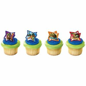 24 Teenage Mutant Ninja Turtles Cupcake Ring Toppers/Favors NEW Birthday Supplie