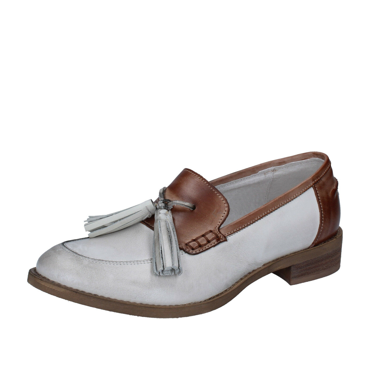 Scarpe donna CROWN pelle 36 mocassini marrone bianco pelle CROWN BZ935-C db9dcc