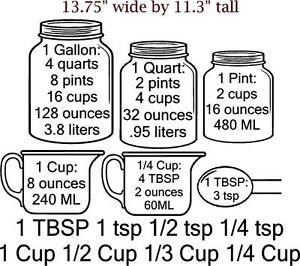 Measuring cup conversion decals for cupboards cup tsp tbsp for 4 tablespoons to cups