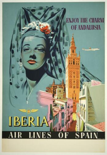 ANDALUSIA..SPAIN Vintage Iberia Airways Travel Poster A2A3A4Sizes